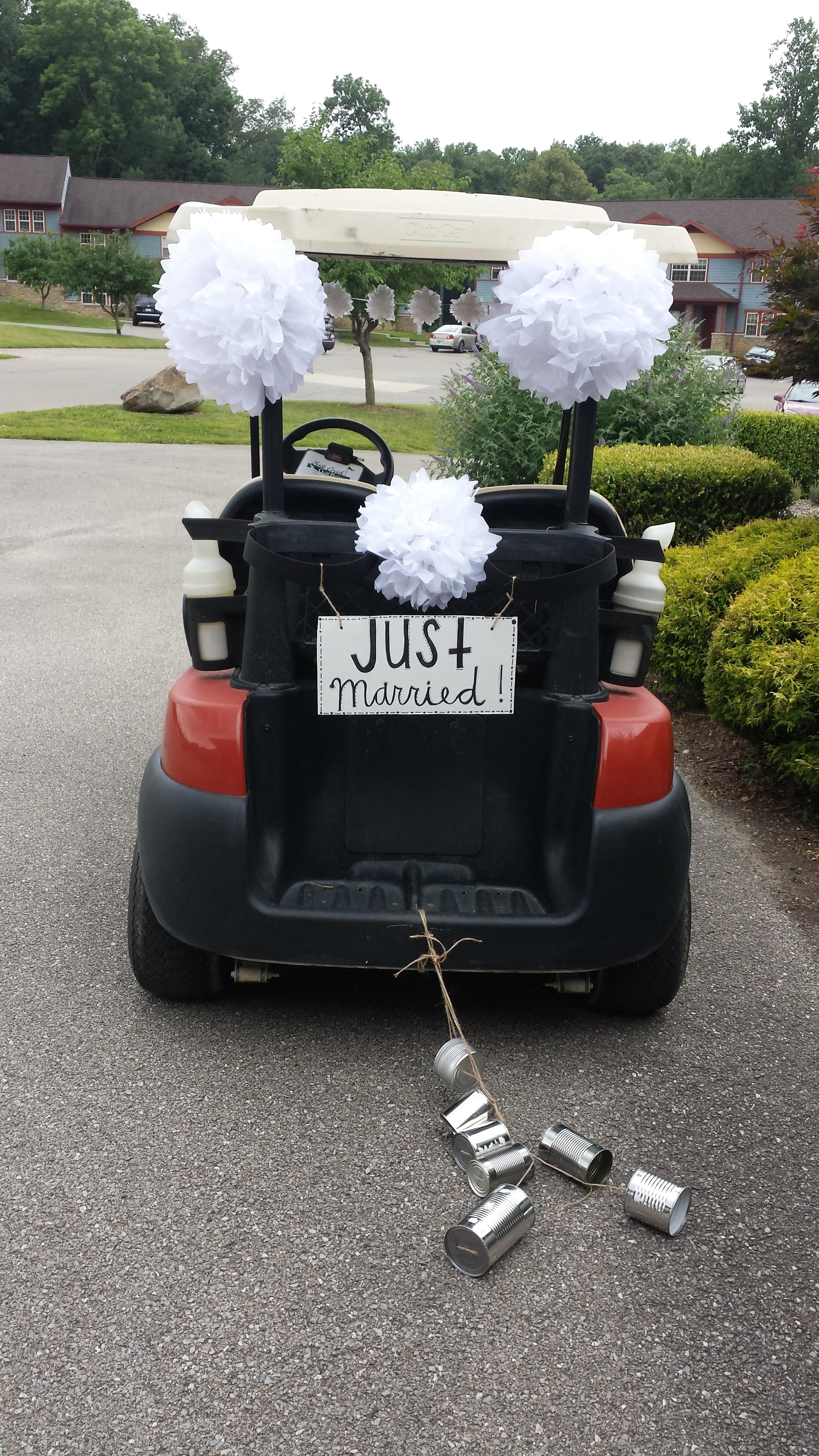 Salt Creek Wedding & Banquet Venue in Nashville, Indiana | Rehearsal on ford think electric golf cart, burning man golf cart, pink golf cart,